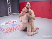 Mixed nude wrestling with Nikki Sequoia fighting Indiana Bones for sex for free
