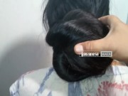 Indian Heavy Hair Bun Open by a man – LHS video