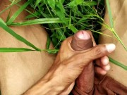 Indian masturbation and cumshot in outdoor green field porn